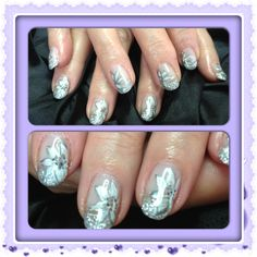 Silver wedding nails - glitter, art and more glitter!