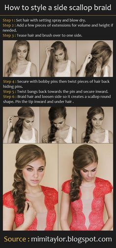 How to style a side scallop braid | Pinterest Tutorials