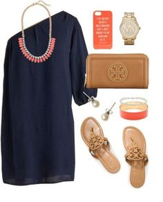 Navy, Tan, and Coral
