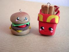Cute Handmade Kawaii Polymer Clay Fast Food charms by pinkinink, $4.00
