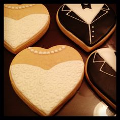 Wedding Day Bride and Groom Cookies by LouiesSweetTreats on Etsy