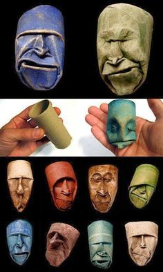 """thefabulousweirdtrotters: """"Toilet paper roll sculptures by Junior Fritz Jacque. - thefabulousweirdtrotters: """"Toilet paper roll sculptures by Junior Fritz Jacquet """" - Toilet Paper Roll Art, Rolled Paper Art, Toilet Roll Art, Toilet Tube, Arts And Crafts, Paper Crafts, Diy Crafts, Yarn Crafts, Art Origami"""