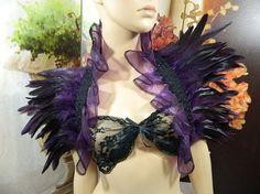 purple black Featherstole Bolero Shrug Wrap Stole Boa Clubbing Party Gothic Burlesque Steampunk Tribal Fusion Samba Carnival