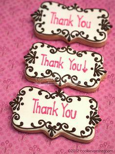Simple Thank you cookies Sugar Cookie Royal Icing, Iced Sugar Cookies, Cookie Icing, Thank You Cookies, Fancy Cookies, Cute Cookies, Cookies Decorados, Galletas Cookies, Cupcakes