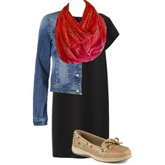 Designer Clothes, Shoes & Bags for Women Infinity Scarf Outfits, Semi Casual, Moonlight, Fashion Inspiration, Coral, Dots, Shoe Bag, Polyvore, Collection