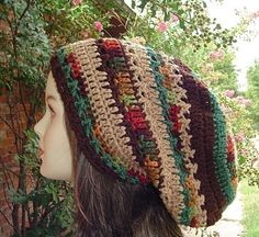 Herbst Patchwork slouchy beanie hat Dreadlocks Hippie Dread Tam fall colors man woman fall snood hat