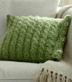 Cable Knit Pillow w/Button Flange (In a tamer yarn?)