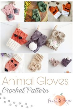 Fox, bunny and bear crochet gloves. Fingerless and mittens. Toddler and child sizes Crochet Gloves Pattern, Mittens Pattern, Crochet Bunny, Knitted Gloves, Cute Crochet, Beautiful Crochet, Baby Knitting Patterns, Crochet Animals, Crochet Patterns