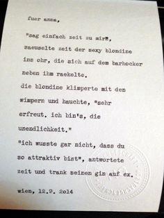 Sag mir ein Wort und ich schreib dir ein Gedicht. Wortfachgeschaeft @ Supersense, Vienna. Inspirationswort: Zeit