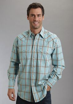 0491d281 Stetson Mens Gate Plaid On Flat Weave W/satin Strp I Long Sleeve Shirt Snap