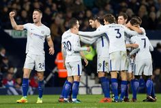 Chelsea's Belgian midfielder Eden Hazard (2L) celebrates scoring his team's fourth goal during the English Premier League football match between West Bromwich Albion and Chelsea at The Hawthorns stadium in West Bromwich, central England, on November 18, 2017