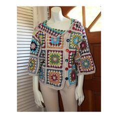 Crochet Asymmetrical Sweater - Custom Sizes 0 to 18 - Cotton Granny Square Colorful Design Sweater  by Annie Briggs 'Shonda'