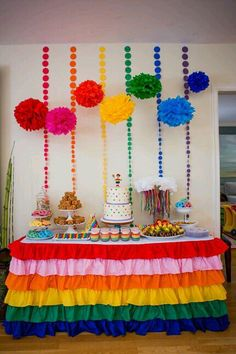 Colorful Rainbow Ruffled Tablecloth, perfect for your rainbow party dessert or gift table. Rainbow Parties, Rainbow Birthday Party, Rainbow Theme, Art Birthday, 4th Birthday Parties, Unicorn Birthday, Unicorn Party, Kids Rainbow, Birthday Ideas