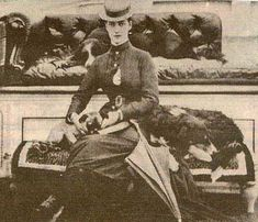 Alexandra Princess of Wales with Border Collies and a pug aboard the Royal Yacht, Osborne