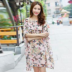 Women's Casual/Print Plus Size Short Sleeve Dresses (Chiffon) – USD $ 12.99