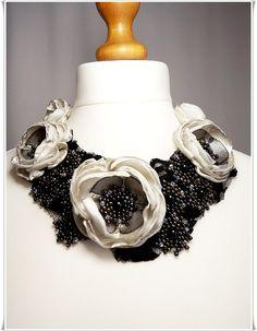 Flower bib necklace fabric flower necklace bib by Zigettasstyle