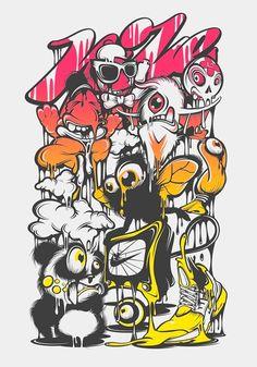Nike by Yup Visual Art Studio, via Behance Doodle Art Drawing, Art Drawings, Character Illustration, Illustration Art, Vexx Art, Graffiti Doodles, Posca Art, Graffiti Characters, Cartoon Characters