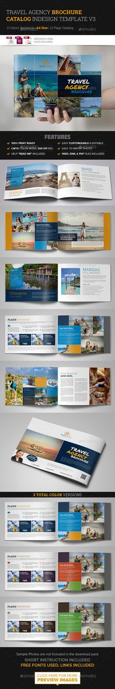 Travel Brochure Catalog InDesign Template v6 Travel, Magazines and