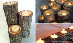For the fireplace you never use....stack your pretty logs with holes drilled for tea lights or votives.