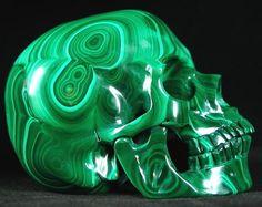 Hand Carved & Polished Malachite Skull