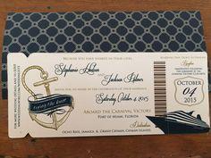 Cruise Wedding Invitation Boarding Pass by TheStylishScribe Boat Wedding, Yacht Wedding, Wedding Ideas, Wedding Wows, Wedding Fair, Diy Wedding, Wedding Stuff, Destination Wedding, Wedding Decorations