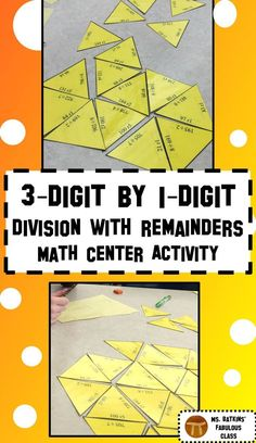 Division with remainders activity, 30 problems, three digit divided by one digit, puzzle ideal for math center work. Can be used by small group, partners, or individual students.