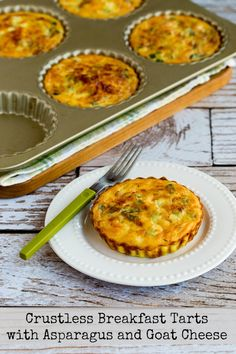 Crustless Breakfast Tarts with Asparagus and Goat Cheese found on KalynsKitchen.com
