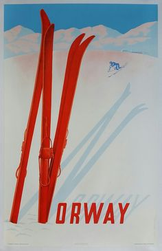 Original+vintage+poster+ski+winter+sport+Norway+1957+-+Claude+Lemeunier