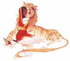 girl with a cat by ~ashcap ::specified to be a liger with hands