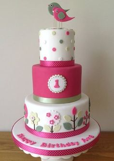Birds and flowers - simple and stylish. Cute...could be an adult birthday cake too