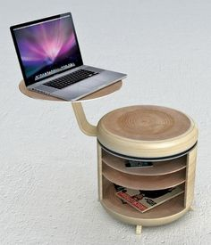 Designed by Geoffrey Graven, the Tandem is a modular storage space that also acts as a chair and table when needed. The Tandem offers a work top that can be instantly turned into a table for your laptop, while the rest of this furniture item will act as a stool. Once you're done with the work you can turn the Tandem into a nightstand too. The Tandem, made of wood and aluminum, has enough shelves to meet your immediate storing needs. (Text from yankodesign.com)