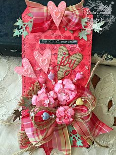 The Funkie Junkie: It's Valen-twine's Time using Wendy Vecchi, Tim Holtz, Ranger, Sizzix and Stamper's Anonymous products; Feb 2015