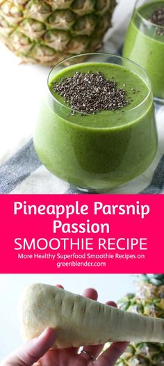 Pineapple Parsnip Passion Smoothie on Green Blender