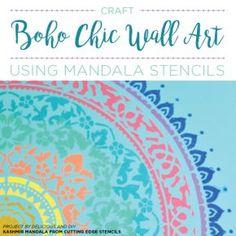 Cutting Edge Stencils shares how to craft boho chic wall art using the Kashmir Mandala stencil pattern. Mandalas Painting, Mandala Stencils, Cutting Edge Stencils, Art Articles, Shop Icon, Diy Wall Art, Wall Decor, Shop Front Design, Stencil Designs