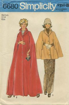 Vintage Sewing Pattern | Cape | Simplicity 6680 | Year 1974 | Bust 34-36 | Waist 26½-28 | Hip 36-38