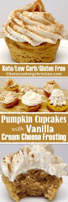 Amazing Pumpkin Cupcakes with Vanilla Cream Cheese Frosting - Keto, Low Carb & Gluten Fr. Pumpkin Cupcakes with Vanilla Cream Cheese Frosting - Keto, Low Carb & Gluten Free. Keto Cupcakes, Keto Cake, Gluten Free Cupcakes, Gluten Free Treats, Gluten Free Deserts Easy, Healthy Gluten Free Snacks, Gluten Free Dinners, Gluten Free Almond Cake, Sugar Free Cupcakes