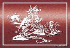 Papercutting Dragon Family A4 Dragon Family от NineFingerJo