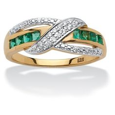 PalmBeach Jewelry 3/8 TCW Princess-Cut Emerald and Diamond Crossover... ($130) ❤ liked on Polyvore