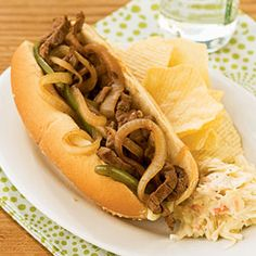 Steak and Cheese Sandwiches with Mushrooms   MyRecipes.com #myplate #protein #grain