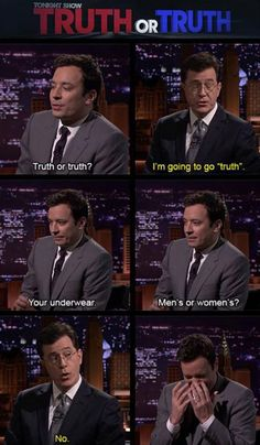 Jimmy Fallon and Stephen Colbert.. Extra funny