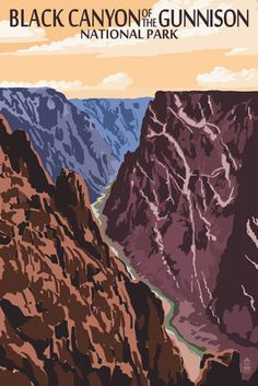 Black Canyon of the Gunnison National Park, Colorado - River & Cliffs - Lantern Press Poster