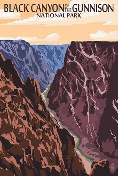 Black Canyon of the Gunnison National Park, Colorado - River & Cliffs - Lantern Press Poster
