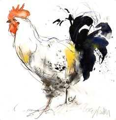 Bildergebnis für Lucy Newton Artist - Famous Last Words Watercolor Projects, Pen And Watercolor, Watercolor Animals, Watercolor Paintings, Rooster Painting, Rooster Art, Chicken Painting, Chicken Art, Bird Drawings