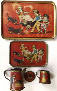 "Antique 1909 Leo Schlesinger tin-litho toy tea set ""Children & Dachshunds"" #LeoSchlesinger"