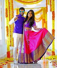 The Super Extravagant Telugu Wedding Replete With Glitz & Glamour Indian Wedding Couple, Indian Bridal, Wedding Couples, Half Saree Lehenga, Saree Dress, Lehenga Dupatta, Anarkali Suits, Bridal Lehenga, Indian Wedding Photography Poses