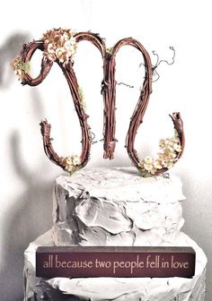 Letter M Rustic Twig Wedding Cake Topper By TheOriginalTwig $3400 cakepins.com