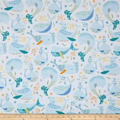 Little Squirt Whales White from @fabricdotcom  Designed by Studio 8 for Quilting Treasures, this cotton print fabric is perfect for quilting, apparel and home decor accents. Colors include blue, yellow, green, turquoise, gold, purple, orange and grey.