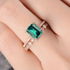 Lab Emerald Engagement Ring Set Rose Gold Bridal Set Halo Diamond Women Art Deco Band Wedding Anniversary Gift Emerald Cut Half Eternity ♡ FREE SHIPPING TO US! ♡ FREE ENGRAVING! ♡ CUSTOM ORDER ♡ RUSH ORDER ♡ 30-DAY FREE WARRANTY! ♡ INSTALLMENT PLAN ♡ RING SET CAN BE MADE! Purchased separately is okay. Engagement Ring: https://www.etsy.com/listing/524887556 Wedding Band: https://www.etsy.com/listing/524497770 You would like: https://www.ets...