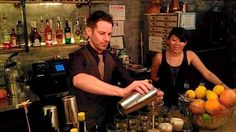 Where to have a great mixology experience in Honolulu.  Bevy co-owners Christian Self and Timo Lee in action behind the bar.