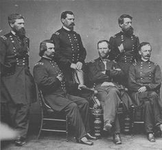 National Park Civil War Series: Fort Pulaski and the Defense of Savannah  PHOTOGRAPH OF WILLIAM T. SHERMAN AND FIVE OF HIS GENERALS TAKEN AFTER THE INFAMOUS MARCH TO THE SEA. L-R: O. O. HOWARD, JOHN A. LOGAN, W. B. HAZEN, SHERMAN, JEFFERSON C. DAVIS, AND H. W. SLOCUM. (LC)>